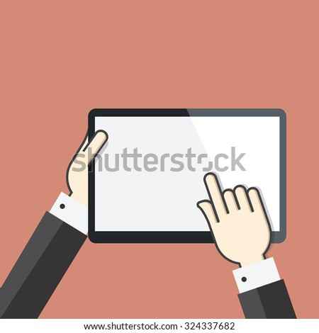 Flat concept of Hands on digital tablet screen - stock vector