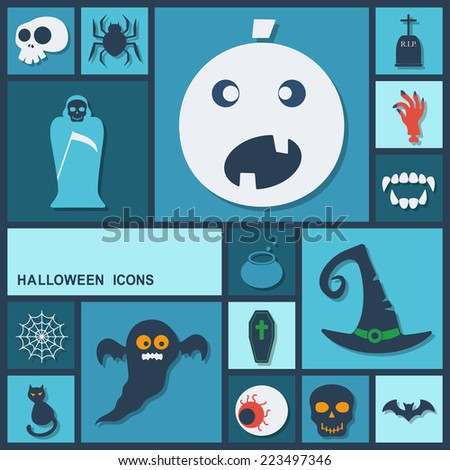 Flat concept, set modern design with shadow icons for web design and mobile applications, SEO. search Engine Optimization:  halloween - stock vector