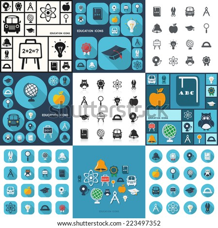 Flat concept, set modern design with shadow icons for web design and mobile applications, SEO. search Engine Optimization:  education icons - stock vector