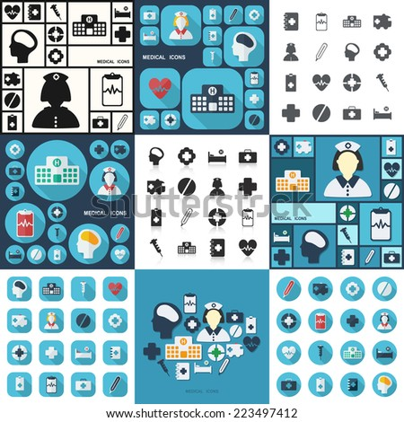 Flat concept, set modern design with shadow icons for web design and mobile applications, SEO. search Engine Optimization:  medical icons - stock vector