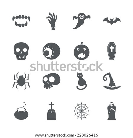 Flat concept, set modern design with shadow icons for web design and mobile applications, SEO. search Working Optimization:  halloween - stock vector