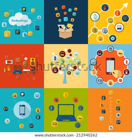 Flat concept, set modern design with shadow vector icons for web design and mobile applications, SEO. search Engine Optimization: technology, communications - stock vector