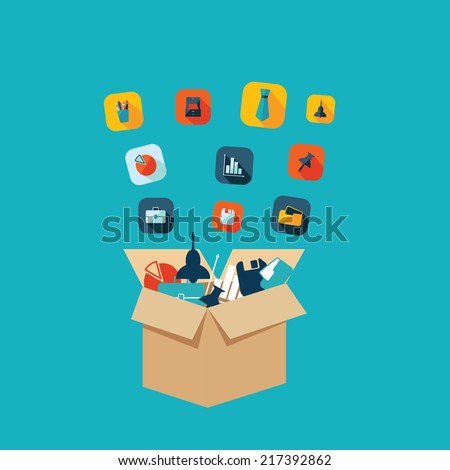 Flat concept, set modern design with shadow vector icons for web design and mobile applications, SEO. search Engine Optimization:  office icons - stock vector