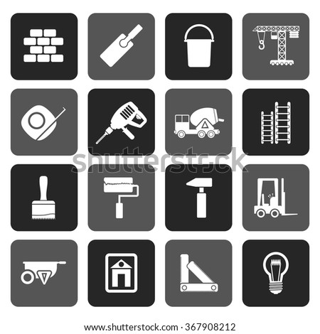 Flat Construction and Building icons - vector Icon Set  - stock vector