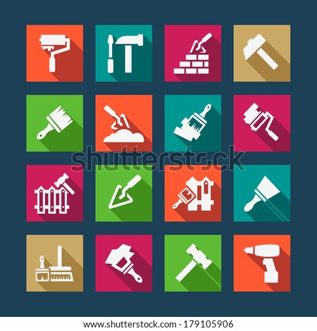 Flat Construction And Repair Icons Set Created For Mobile, Web And Applications. - stock vector