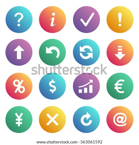 Flat contour icons on colors buttons. - stock vector