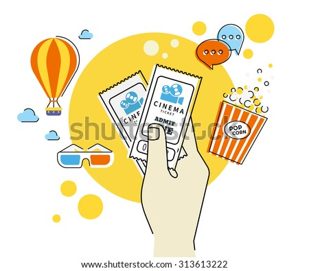 Flat contour illustration of human hand holds two cinema tickets. Text outlined  - stock vector