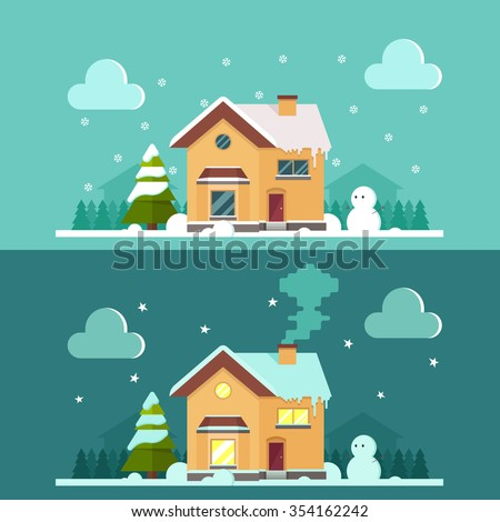 Flat Country House - Day and Night. Snowy Trees and Houses on Background. Colorful Vector Illustration