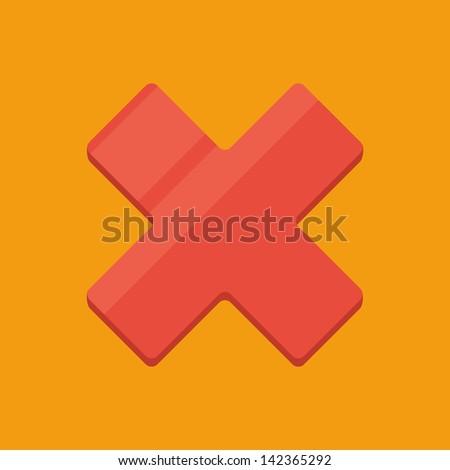 Flat cross icon - stock vector