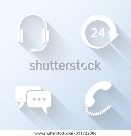 Flat customer support icons with long shadows. Vector illustration - stock vector