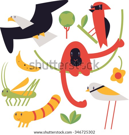 flat cute geometric comic funny animal set for books, apps, stickers, badges, interior design or flash card games for kids. Eagle, waxwing, plover, orangutan, banana, leaves, liana, mealworm, locust - stock vector