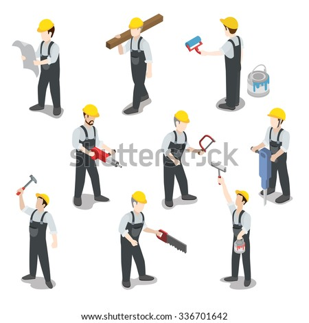Flat 3d isometric builder construction worker icon set concept web infographics vector illustration. Carpenter painter driller architect foreman swamper. Creative people collection. - stock vector