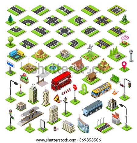 Flat 3d isometric buildings blocks road street game tiles icons infographic concept set. City map elements crossroad traffic light lantern skyscraper tram bus shop JPG JPEG Image Lego Vector EPS 10 AI - stock vector