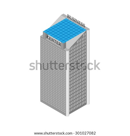 flat 3d Isometric business center building with elevators and roof of solar panels. Isolated on white background. Vector illustration. - stock vector