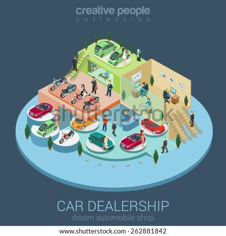 Flat 3d isometric car dealership sale concept vector. Sedan, electric car, convertible cabrio, luxury, motorbike indoor interior floors walking shoppers. Multi-use vehicle salon store business concept - stock vector