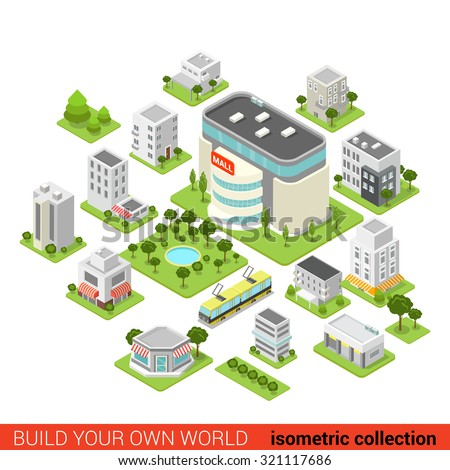 Flat 3d isometric city building block  shopping mall small restaurant shop dormitory area sleeping quarter infographic concept. Build your own infographics world collection.