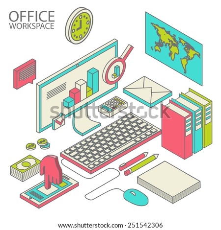 Flat 3d isometric computerized technology designer workspace infographic concept vector.  - stock vector