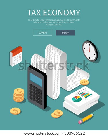 Flat 3d isometric design concepts for business and finance. Concepts for taxes, finance, bookkeeping, accounting, business, stock market, market research, etc. - stock vector