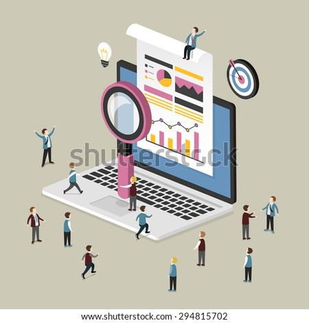flat 3d isometric design of data analysis concept - stock vector