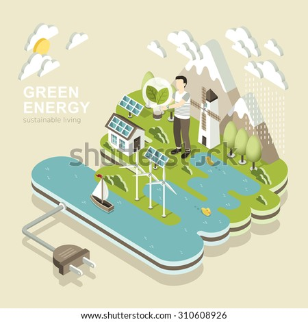 flat 3d isometric design of green energy - stock vector