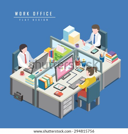 flat 3d isometric design of work office concept - stock vector