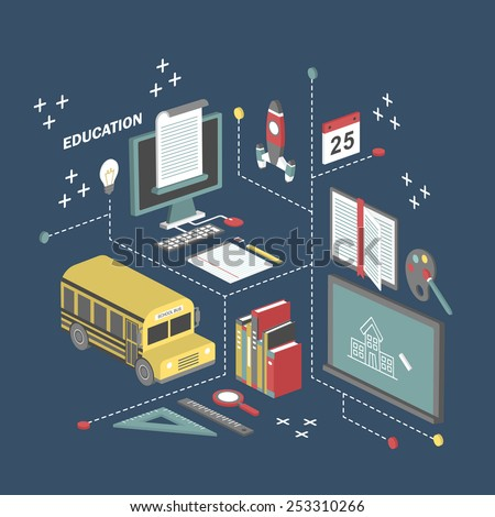 flat 3d isometric education concept illustration over blue background - stock vector