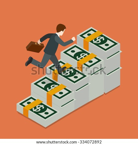 Flat 3d isometric growing wealth concept web infographics vector illustration. Businessman running up on dollar banknote ladder. Creative people collection. - stock vector