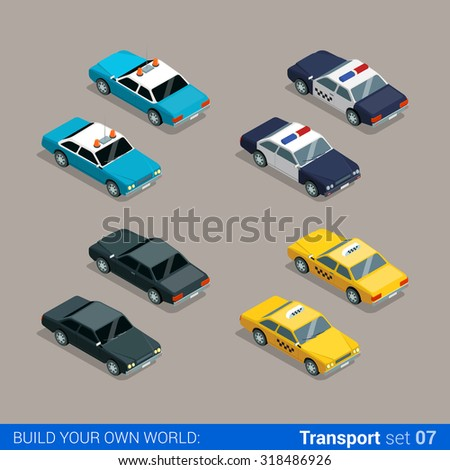 Flat 3d isometric high quality city service transport icon set. Police sheriff car taxi cab black special. Build your own world web infographic collection. - stock vector