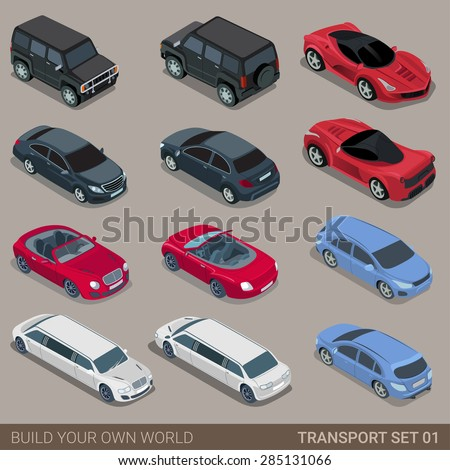 Flat 3d isometric high quality city transport icon set. Car sportscar SUV luxury high class sedan limousine limo convertible cabrio. Build your own world web infographic collection. - stock vector