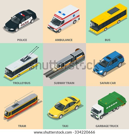 Flat 3d isometric high quality city transport icon set. Subway train, Ambulance, Police, bus, taxi, truck, trolleybus, safari travel car, subway train, safari car, garbage truck. - stock vector