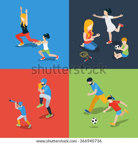 Flat 3d isometric high quality family sports play parenting time icon set. Mom daughter son dad skipping rope baseball soccer football dancing. Build your own world web infographic collection. - stock vector