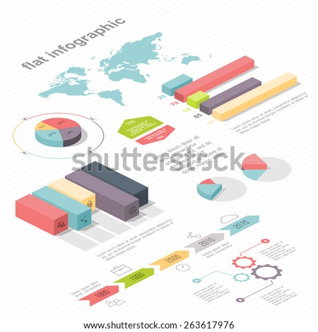 Flat 3d isometric infographic for your business presentations. Can be used for infographics, graphic or website layout vector, diagram,  web design. ?oncept vector - stock vector
