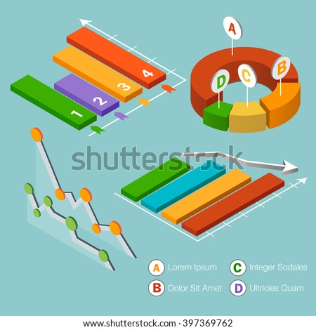 Flat 3d isometric infographic. Isometric vector 3D analysis data, pie chart flat design. Set of colorful isometric graphs and charts, diagram marketing, circle statistic, report data. - stock vector