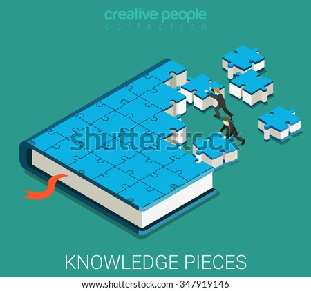 Flat 3d isometric isometry education web infographics concept. Businessmans making big book of puzzle pieces. Creative people collection. - stock vector