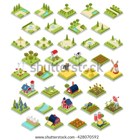 Flat 3d isometric isometry set countryside infographics farm building object tool equipment.  - stock vector
