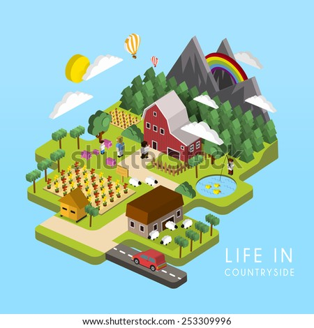 flat 3d isometric life in countryside illustration over blue background - stock vector