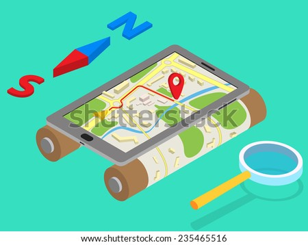 Flat 3d isometric mobile GPS navigation maps infographic concept vector - stock vector
