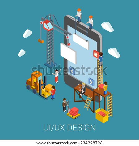 Flat 3d isometric mobile UI/UX design web infographic concept vector. Crane people creating interface on phone tablet. User interface experience, usability, mockup, wireframe development concept. - stock vector