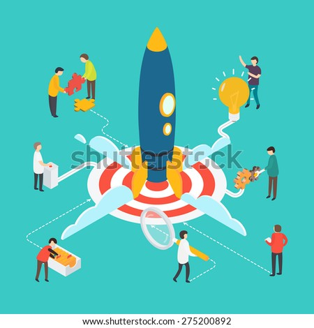 Flat 3d isometric modern startup concept with people and rocket. - stock vector