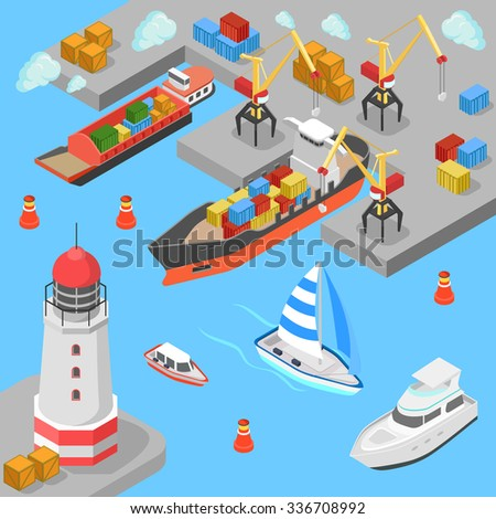 Flat 3d isometric nautical transport cargo shipping harbor dock port lighthouse boat yacht concept web infographics vector illustration. Container ship barge loading crane marine transportation. - stock vector