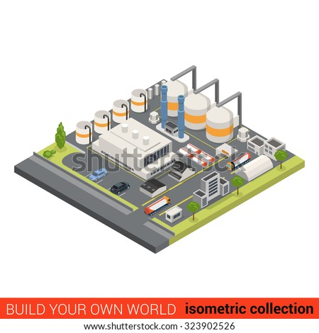 Flat 3d isometric oil refinery building block infographic concept. Heavy industry processing plant chimney gas petroleum cistern. Build your own infographics world collection.