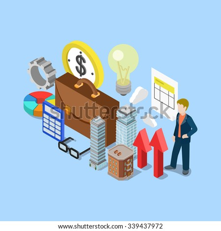 Flat 3d isometric realty estate financial accounting bookkeeping business concept web infographics vector illustration. Briefcase cog lamp calculator skyscraper micro man. Creative people collection. - stock vector
