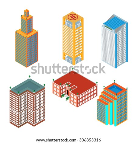 flat 3d isometric set of colored skyscrapers, buildings, school.  Isolated on white background.  for games, icons, maps. - stock vector