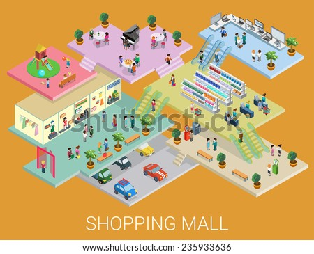 Flat 3d isometric shopping mall concept vector. City shopping center, boutique gallery indoor interior floors with walking shoppers. Sale, entertainment, multi-use, retail store business concept. - stock vector