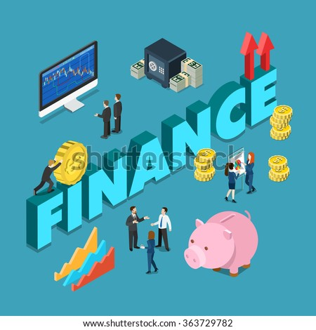 Flat 3d isometric style business corporate finance concept web infographics vector illustration. Office staff stock exchange money box piggy bank indicators and big word. Creative people collection. - stock vector