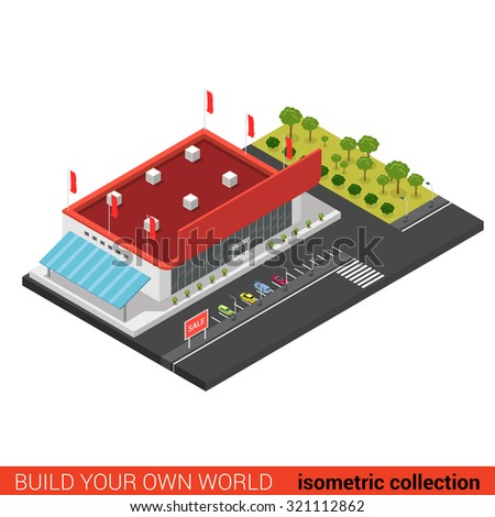 Flat 3d isometric supermarket mall sale building block infographic concept. Build your own infographics world collection.