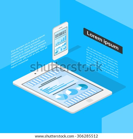 Flat 3d Isometric Tablet and Phone Graph Flat Vector Illustration - stock vector