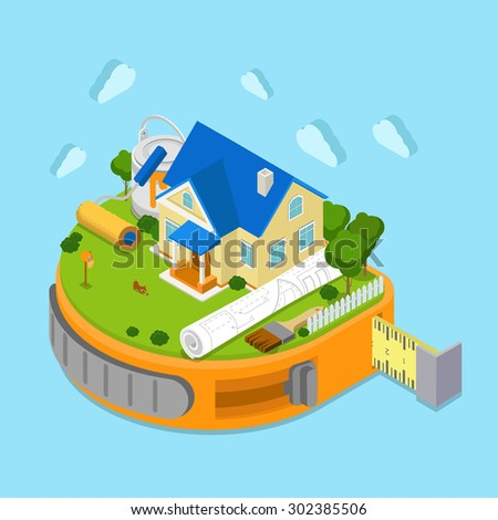 Flat 3d isometric tape measure island infographics house construction place project scheme drawing icon concept. Huge paint roller paintbrush can tape-line. Web isometry infographic collection - stock vector
