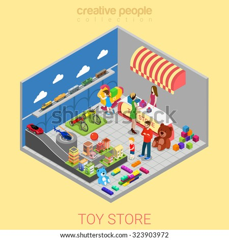 Flat 3d isometric toy store web infographics concept. Kid child parents in shop interior choosing gift cashier desk seller. Creative people collection. - stock vector