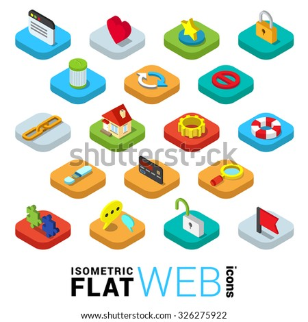 Flat 3d isometric trendy style web surfing mobile app infographics icon set. Window like favorite lock SSL encryption trash delete reload refresh link chain home cog. Website application collection. - stock vector